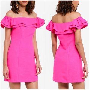 TOPSHOP Bardot Ruffle Mini Dress